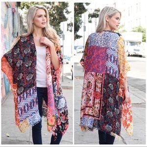 Sweaters - TIYA Boho floral kimono